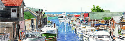 Painting - Leland Fishtown, Fishing Village, Leland Painting, Michigan Painting, Boating, Boat Painting by LeAnne Sowa