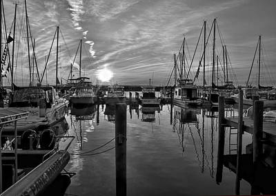 Photograph - Leland Michigan Harbor - Black And White by Ron Grafe