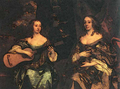 Digital Art - Lely Sir Peter Two Ladies Of The Lake Family by Sir Peter Lely