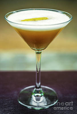 Martini Royalty-Free and Rights-Managed Images - Lemon And Honey Martini Cocktail Drink Glass  by Jacek Malipan