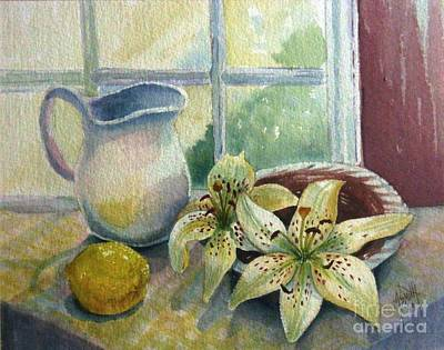 Pitcher Painting - Lemon And Lillies by Marilyn Smith