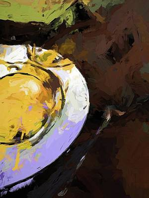 Digital Art - Lemon Bowl Fork Green by Jackie VanO