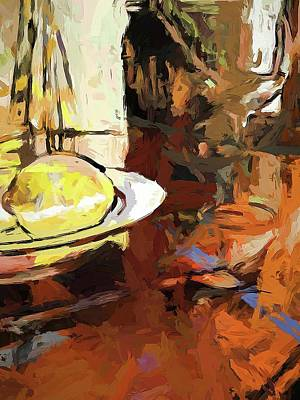Digital Art - Lemon Bowl Wine Glass Fork by Jackie VanO