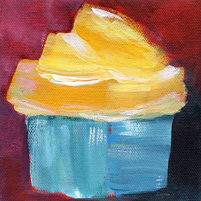 Lemon Cupcake- Art By Linda Woods Art Print by Linda Woods