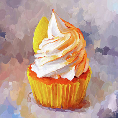 Lemon Cupcake Art Print by Jai Johnson