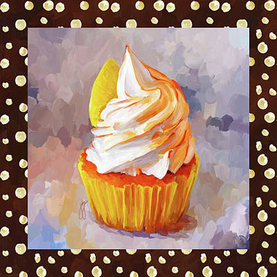 Painting - Lemon Cupcake With Border by Jai Johnson