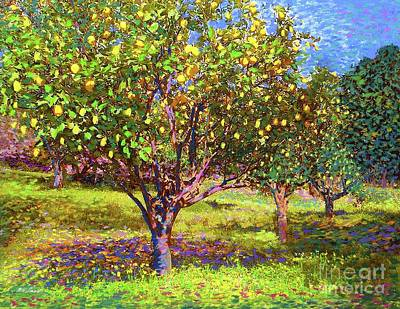 Lemon Painting - Lemon Grove Of Citrus Fruit Trees by Jane Small