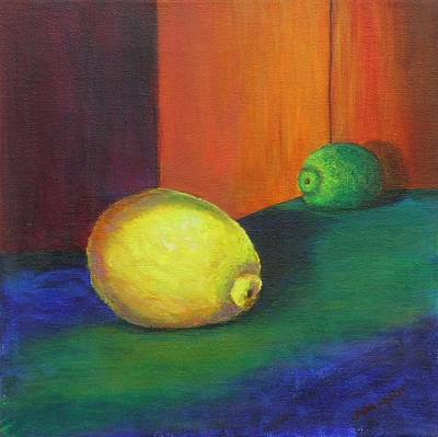 Painting - Lemon In The Limelight by Laurie Samara-Schlageter