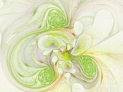 Generative Digital Art - Lemon Lime Curly by Deborah Benoit