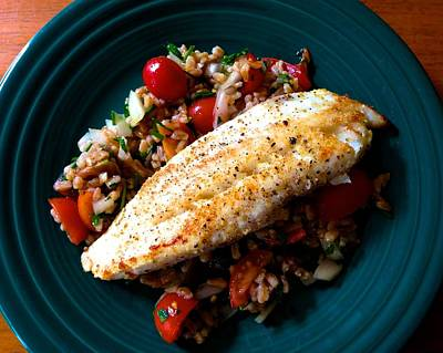 Photograph - Lemon Pepper Tilapia Over Farro Tomato Pilaf by Polly Castor