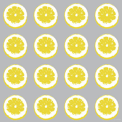 Modern Contemporary Art Mixed Media - Lemon Slices On Grey- Art By Linda Woods by Linda Woods