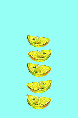 Lemon Slices Turquoise Art Print by Maria Heyens