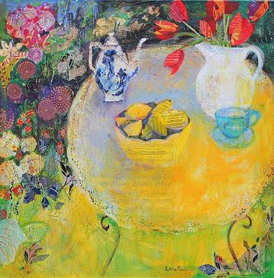 Lemon Mixed Media - Lemon Tea In The Garden by Sylvia Paul