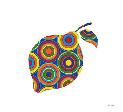 Lemon Digital Art - Lemon With Circles On White by Ron Magnes