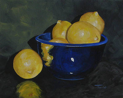 Lemon Painting - Lemons And Blue Bowl IIi by Torrie Smiley