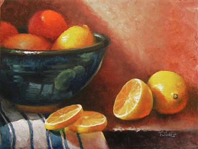 Lemon Painting - Lemons And Ceramic Bowl by Timothy Jones