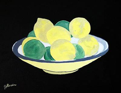Painting - Lemons And Limes In Bowl by Joseph Frank Baraba