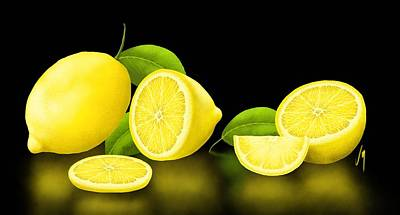 Lemonade Painting - Lemons-black by Veronica Minozzi