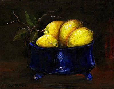 Lemons In Blue Bowl Original by Pat Hutchens