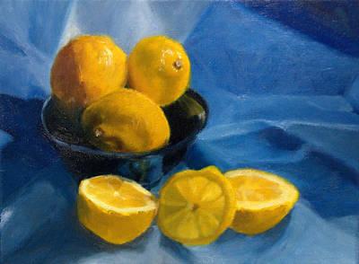 Lemons In Blue Bowl Art Print by Stephanie Allison