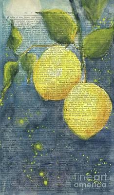 Lemon Painting - Lemons In Moonlight by Maria Hunt