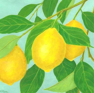 Fruit Tree Art Painting - Lemons by Kathy Moon