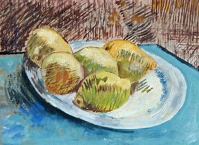 Painting - Lemons On A Plate - After Van Gogh by Paul Thompson