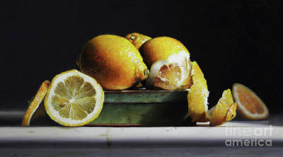 Painting - Lemons On A Tin by Larry Preston