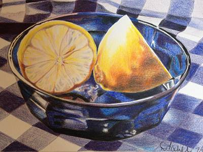 Table Cloth Drawing - Lemons On Blue by Debbie Fischer