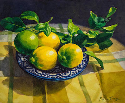 Ceramics Painting - Lemons On Moroccan Plate by Fiona Craig