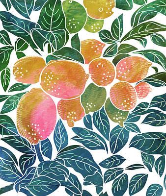 Digital Art - Lemons V2 by Uma Gokhale