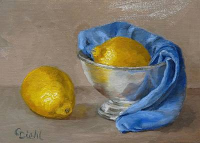 Painting - Lemons With Blue Cloth by Grace Diehl