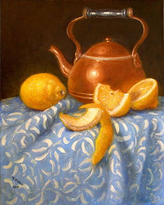 Lemons With Copper Teapot Art Print by Donelli  DiMaria