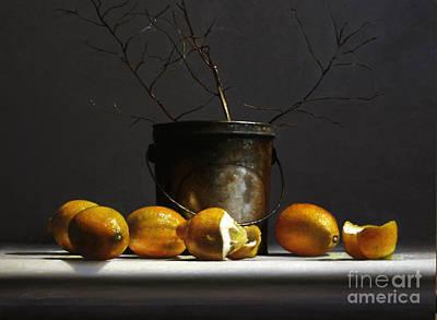 Lemon Painting - Lemons With Red Twig Dogwood by Larry Preston