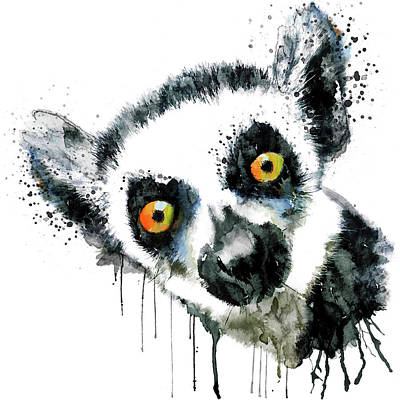 Painted Face Mixed Media - Lemur Head  by Marian Voicu