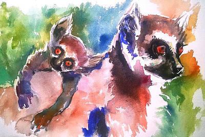 Mums Painting - Lemur Love by Emma Kaufmann