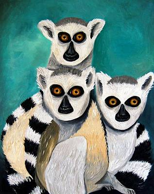 Nocturnal Animals Painting - Lemurs by Leah Saulnier The Painting Maniac