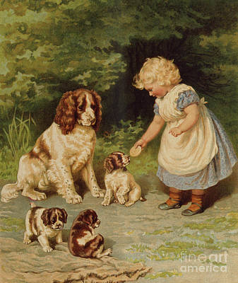 Painting - Lena's Pets by English School