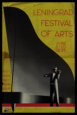 Mixed Media - Leningrad Festival Of Arts - Folded by Vintage Advertising Posters