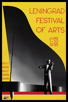 Mixed Media - Leningrad Festival Of Arts - Restored by Vintage Advertising Posters