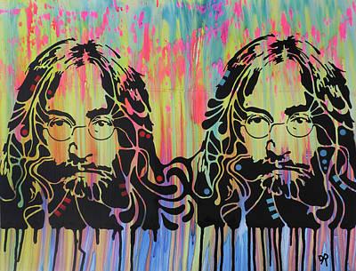 John Lennon Wall Art - Painting - Lennon 2x by Dean Russo Art