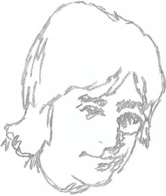 George Harrison Art Drawing - Lennon Free As A Bird by Irakli Jorjadze