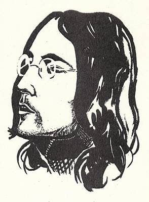 George Harrison Art Drawing - Lennon Happiness Is A Warm Gun by Irakli Jorjadze