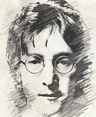 Musicians Drawings Rights Managed Images - Lennon Royalty-Free Image by John Springfield