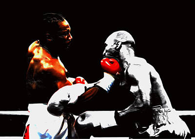 Heavyweight Mixed Media - Lennox Lewis And Holyfield 3h by Brian Reaves