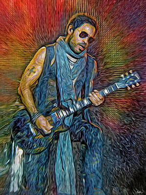 Jazz Mixed Media Royalty Free Images - Lenny Kravitz, musician Royalty-Free Image by Mal Bray