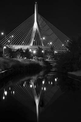 Photograph - Lenny Zakim Bridge Reflection Boston Ma Black And White by Toby McGuire