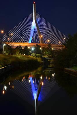 Photograph - Lenny Zakim Bridge Reflection Boston Ma by Toby McGuire