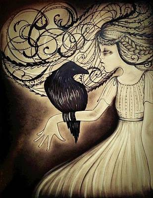The Raven Drawing - Lenore  by Summer Porter