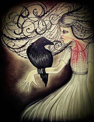The Raven Drawing - Lenore With Tb by Summer Porter